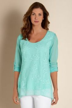 Ciao Bella Top - Embroidered Overlay Top, Jersey Knit Top | Soft Surroundings