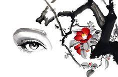 OHGUSHI Japanese Bonsai Tree, Pin Up Illustration, Disney Characters, Fictional Characters, Disney Princess, Painting, Woman, Black, Fashion