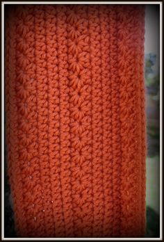 Pumpkin Infinity Scarf - uses only chain, HDC, & star stitch.  *UPDATE: Made this for my mom, very easy & pretty - she really liked it :-)   . . .  ღTrish W ~ http://www.pinterest.com/trishw/  . . . #crochet