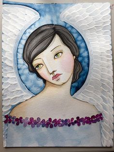 Articoli simili a Indigo Angel Watercolor and Acrylic online class su Etsy Angel Drawing, Christian Artwork, Mermaid Coloring, Angels In Heaven, Cartoon Design, Angel Art, Painting Patterns, Portrait Art, Face Art
