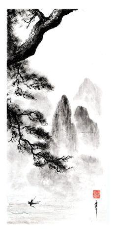 peinture zen ou sumi-e Jean-Marc Moschetti art zen Japanese Ink Painting, Zen Painting, Chinese Landscape Painting, Japan Painting, Chinese Painting, Landscape Paintings, Chinese Art, Japanese Drawings, Japanese Artwork