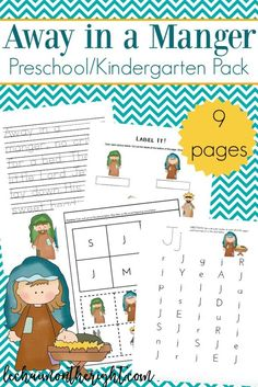 Inspired by Away in a Manger, this free Christmas preschool printable activities pack is great for literary and number recognition, with a Christmas theme!