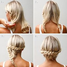60 DIY Easy Updos for Medium Hair. It's funny how finding easy updos for mediu… - Easy Hairstyles Easy Updos For Medium Hair, Medium Hair Styles, Short Hair Styles, Hair Medium, Medium Long, Braided Hairstyles, Cool Hairstyles, Braided Updo, Hairstyle Ideas