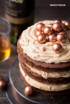 Rezept für Whisky Kuchen Whiskey Torte mit Schokolade und Karamell