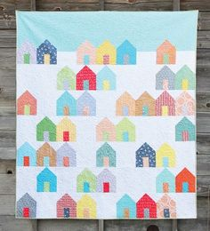 Suburbs Quilt Pattern - Cluck Cluck Sew - Fat Quarter and Layer Cake Friendly Quilt Pattern in Three Sizes, Houses Quilt Pattern House Quilt Patterns, House Quilt Block, Quilt Blocks, Sewing Patterns, Patchwork Patterns, Quilting Projects, Quilting Designs, Sewing Projects, Quilting Ideas