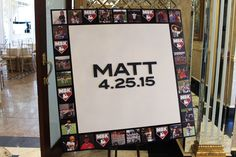 Baseball Themed Sign in Board Baseball Themed Bar Mitzvah Sign in Board with Photo & Logo Border