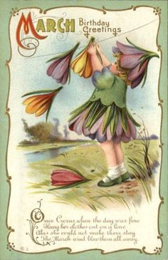 March Birthday Greetings antique postcard - love cards like this! Birthday Postcards, Vintage Birthday Cards, Vintage Greeting Cards, Vintage Ephemera, Vintage Postcards, Vintage Images, Fantasy Girl, Flower Hats, Vintage Easter