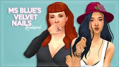 I. Love. These. Nails.  Been working on these for a couple days now. Ms Blue's Velvet Nails are the first CC nails I've found that I really liked. I wanted them in more colours, so I've used two palettes - An_na's colours and @smubuh's gorgeous Teased...