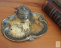 Antique Bronze Inkwell Art Nouveau French Brass Inkwell