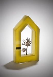 Mikyoung Jung -- whimsical integration of kiln formed glass and metal trees
