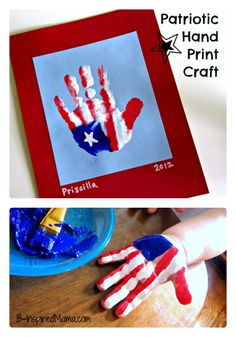 The Cutest Flag Craft EVER! A Cute Kids Patriotic Hand Print Flag Craft – Perfect for Memorial Day, of July, or Veterans Day – at B-Inspired Mama Daycare Crafts, Toddler Crafts, Preschool Crafts, Kids Crafts, Daycare Rooms, Toddler Art, Kids Diy, Decor Crafts, Summer Crafts