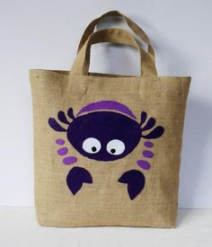 Artículos similares a SOLD Spring Summer Eco friendly Jute tote handbag /vacations fashion / all to carry/stylish shopper/Deep light purple and Crab en Etsy Jute Tote Bags, Painted Bags, Art Bag, Fabric Bags, Freundlich, Cotton Bag, Patchwork Bags, Handmade Bags, Tote Handbags
