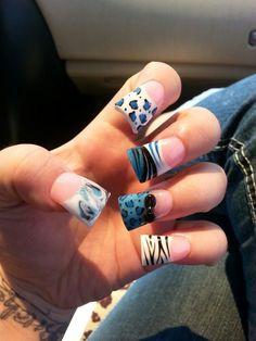 blue acrylic nails   Pretty blue animal print acrylic nails!