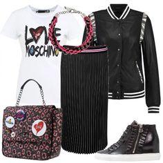 Gonna+plissettata,+nera+e+con+fascia+elastica+in+vita,+t-shirt+bianca,+di+cotone+con+stampa+del+logo,+giacca+di+pelle,+modello+bomber,+con+colletto+alla+coreana,+bottoni+e+dettagli+animalier.+Ai+piedi+sneakers+nere,+alte+ed+in+pelle,+zainetto+molto+particolare,+in+tessuto+bicolore+con+fantasia+leopardata,+chiusura+a+scatto+e+spille+applicate,+completiamo+con+una+collana+molto+vistosa+in+un+mix+di+materiali+intrecciati+fucsia+e+nero.