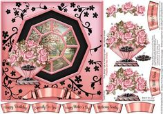 Art Deco Pink Roses Octagonal Window Decoupage on Craftsuprint designed by Sandie Burchell - Beautiful 7 inch square Octagonal Window with Decoupage. Sentiment Panels includes: Happy Birthday, Especially For You!, Happy Mother's Day, Mothering Sunday, Get Well Soon, Happy Anniversary or Blank for your own peel-off lettering or stamp.