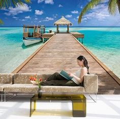 TAHITIAN WATERS WALL MURAL From Our National Geographic Collection Invite paradise into your décor with this tropical wall mural. With a thatched roof dock leading out into the clear aqua sea, this st
