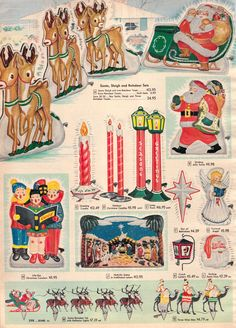Vintage 1956 Outdoor Christmas Holiday Decor from Sears Retro Christmas Decorations, Vintage Christmas Images, Old Christmas, Old Fashioned Christmas, Vintage Christmas Ornaments, Christmas Books, Vintage Holiday, Christmas Pictures, Christmas Adverts