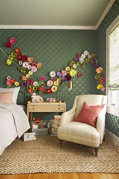 Thanks to pretty paper petals and a garden-fresh palette, this whimsical bedroom blooms year-round.