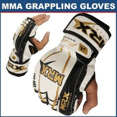 MMA Grappling Gloves Cage Fight (Small) by MRX. $24.99. MMA Gloves for Training and Competition. Moderate Padding Across The Knuckles and Back of Hand. Open Palm and Fingers For Holding and Gripping Techniques. Velcro Closure for Wrist Support and Secure Fit. Made of Rex Leather. Mma Equipment, Training Equipment, Fighting Gloves, Mma Gloves, Sports Training, Body Armor, Dandy, Golf Bags, Martial Arts
