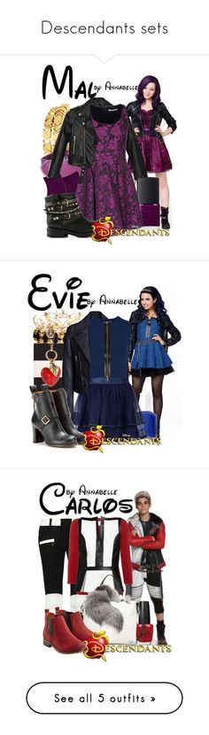"""Descendants sets"" by annabelle-95 ❤ liked on Polyvore featuring descendants, text, disney, fillers, decendants, phrase, quotes, saying, House of Harlow 1960 and Golden Goose"