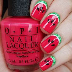 "Watermelon nails by nailsbycambria on Instagram. ""I used: @opi_products 'Alpine Snow' and 'Charged Up Cherry' Black and green acrylic paint @sechenails Seche Vite from @hbbeautybar"""