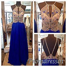 Prom dress 2016, beautiful halter navy blue chiffon long prom dress for teens #coniefox #2016prom