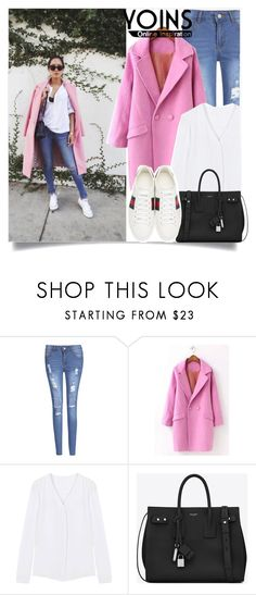 """""""Yoins :Pink and denim"""" by yoinscollection on Polyvore featuring Yves Saint Laurent and Gucci"""