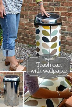 Have an ugly trash can ? Then why not transform it by upcycling with wallpaper. step by step tutorial for this Orla Kiely Trash can (bin)