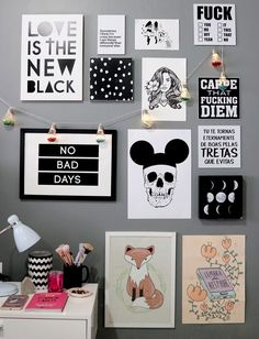 Diy Decoracion Habitacion Paredes Cuadros Ideas For 2019 Decoration Tumblr, Decoration Inspiration, Bedroom Inspiration, Tumblr Wall Decor, Dorm Room Walls, Cute Dorm Rooms, Diy Tumblr, Tumblr Rooms, Tumblr Bedroom