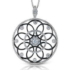 Simon G. Black & White Vintage Styled Filigree Open Circle Diamond Pendant in 18K White Gold Featuring 1.08 Carats White Diamonds