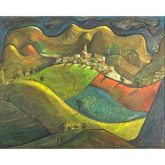 "Angel Botello, Untitled, Oil on Masonite (framed), Signed, 29 1/2"" x 36 3/8"", Estimate: $20,000 - $30,000, Winning Bid: $46,875"