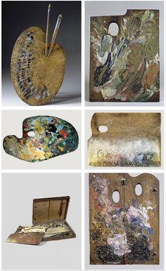 Artists' Palettes, L-R: Delacroix, Van Gogh, Monet, Seurat, Renoir, Gauguin.