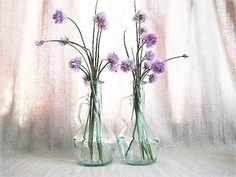Vintage Glass Cruets / Glass Bottles for Oil by dewdropdaisies