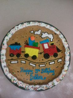We can customize cookie cakes just for your  occasion. This custom #train #cake was designed by the artists at the Cosentino's Market in Brookside.