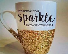 Hello Gorgeous Hand Glittered Coffee Mug In Gold Glitter   Made To Order