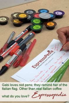 Red pens remind Gabi of the Italian flag and real Italian coffee. For old fashioned service go to Espressopedia for coffee pods and beans. Italian Coffee, Nescafe, Coffee Pods, Nespresso, Pens, Starbucks, Flag, Dolce Gusto, Italian Cafe