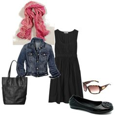 Good ol' reliable black ballet flats, black dress, denim jacket and a pop of color on the scarf