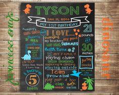 First Birthday Chalkboard Dinosaur  100 CUSTOMIZED by PrincessSnap, $30.00
