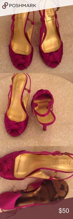 J.Crew Satin Hot Pink Slingbacks Sz 7 J.Crew satin covered leather lined Slingbacks. Gorgeous shoes with leather soles . Size 7 J.Crew Shoes Heels