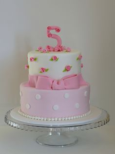 Love the little pink rosettes! Great little girl's birthday cake idea!