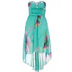 Aqua And Pink Butterfly Print Asymmetric Hem Bandeau Dress ($78) ❤ liked on Polyvore featuring dresses, women's dresses & skirts, pink dress, pink bandeau dress, butterfly pattern dress, pink day dress and asymmetrical hemline dress