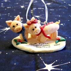 Our First Christmas Together Ornaments PIGS #HAFteam #handmade $10.00