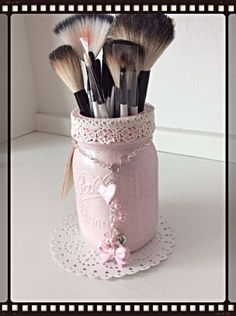 Charming Makeup Caddy Pink Altered Mason Jar $24 is creative inspiration for us. Get more photo about home decor related with by looking at photos gallery at the bottom of this page. We are want to say thanks if you like to share this post to another people via your …