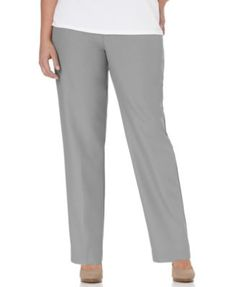 Alfred Dunner Plus Size Pants, Pull On Straight Leg, Grey
