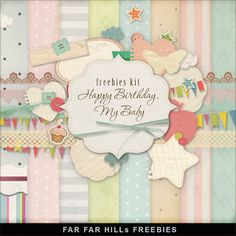 * Freebies * : Far Far Hill - Kit Happy Birthday, My Baby (Pastels) (Polka Dots, Stripes, Various Patterns) (Bunting, Labels) Free Digital Scrapbooking, Digital Scrapbook Paper, Papel Scrapbook, Scrapbooking Layouts, Scrapbook Cards, Digital Papers, Scrapbook Quotes, Far Hills, Printable Paper