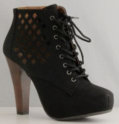 Qupid Puffin-62 Black High Heel Boot Nubuck Lace up Platform Bootie - Perforated High Heel Black Bootie - #Shoes [NO LONGER IN CATALOG]