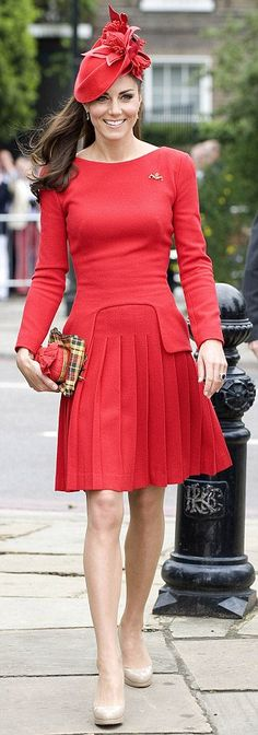 Radiant in red: The Duchess of Cambridge...