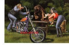 David Mann Art 'Dem Bones 'Dem Bones Print Easyriders Harley Davidson Skeleton •…