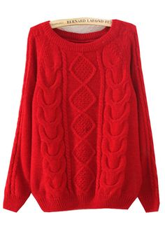 Red Long Sleeve Diamond Patterned Knit Sweater US$16.79