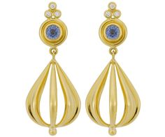 18K Gold Atom Earrings with Blue Sapphires and Diamonds - Temple St. Clair